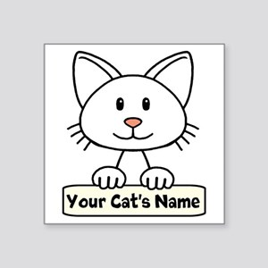 "Personalized White Cat Square Sticker 3"" x 3"""